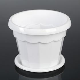 Горшок для цветов с поддоном Доляна «Эрика», 0,7 л, цвет белый