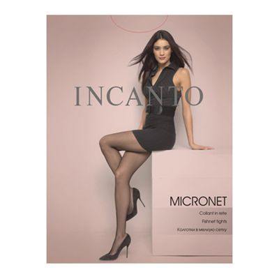 Колготки женские Incanto Micronet Collant сетка цвет чёрный (nero), размер 3 - Фото 1