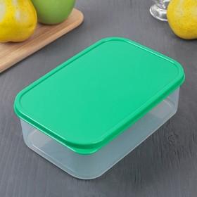 Контейнер прямоугольный Доляна, пищевой, 1,2 л, цвет зелёный