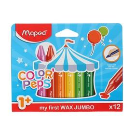 Мелки восковые 12 цветов, Maped Color'Peps, maxi, трёхгранные