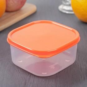 Контейнер квадратный Доляна, пищевой, 400 мл, цвет оранжевый