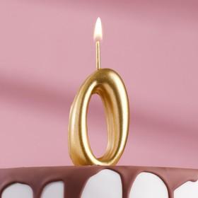 """Свеча для торта цифра """"Золотая"""" цифра """"0"""""""