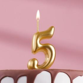 """Свеча для торта цифра """"Золотая"""" цифра """"5"""""""