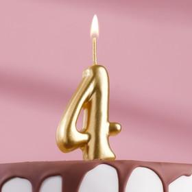 """Свеча для торта цифра """"Золотая"""" цифра """"4"""""""