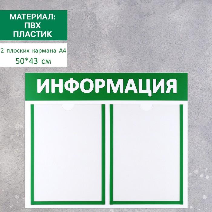 """Информационный стенд """"Информация"""" 2 плоских кармана А4, цвет зелёный"""
