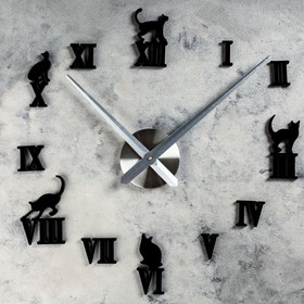 Часы-наклейка DIY 'Кошечки', 120 см Ош
