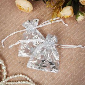 Мешочек подарочный 'Розы серебристые' 7*9, цвет белый с серебром Ош