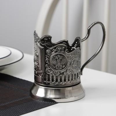 Подстаканник «Георгий Победоносец», стакан d=6,1 см, никелированный, с чернением - Фото 1