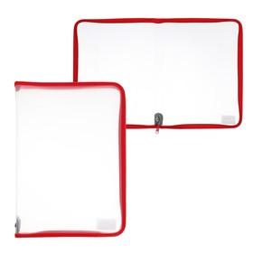 Папка пластиковая А4, молния вокруг, прозрачная, «Офис», ПМ-А4-01, красная Ош
