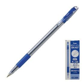 Ручка шариковая Pentel масляная основа TKO 407, резиновый упор, 0.7мм, синий стержень (BKL7)