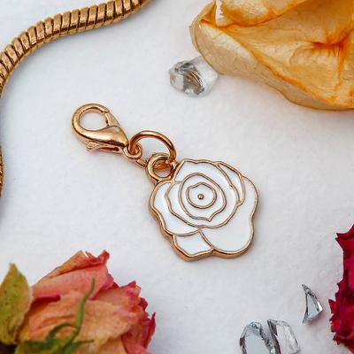 """Шармик """"Цветок"""" роза, цвет белый в золоте"""