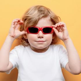Очки солнцезащитные детские 'Спорт', оправа МИКС, дужки круглые, линзы чёрные, 13 × 4.5 × 3.5 см Ош