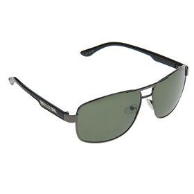 Очки солнцезащитные 'Авиаторы квадратные', оправа чёрная, линзы чёрно-зелёные, поляризационные Ош