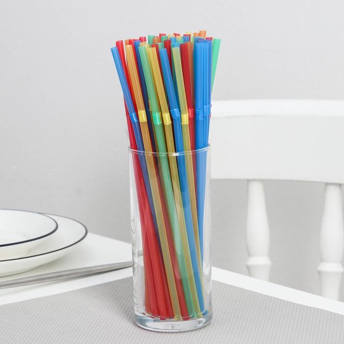 """Набор трубочек для коктейля 5х210 мм """"Доляна"""", цвет МИКС, 100 шт в упаковке"""