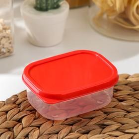 Контейнер прямоугольный Доляна, пищевой, 150 мл, цвет красный