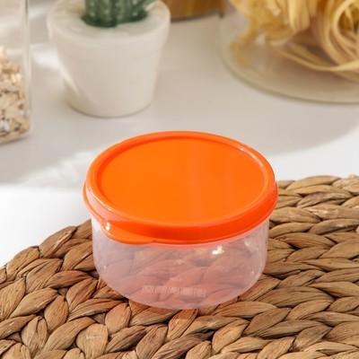 Контейнер круглый Доляна, пищевой, 150 мл, цвет оранжевый - Фото 1