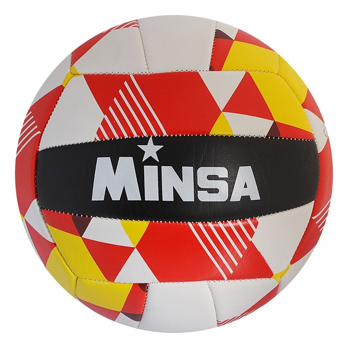 Мяч волейбольный Minsa V10, 18 панелей, PVC, 2 подслоя, машинная сшивка, размер 5