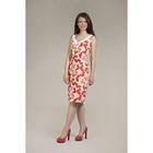 Платье-футляр женское, цвет красно оранжевые цветы, размер44/170