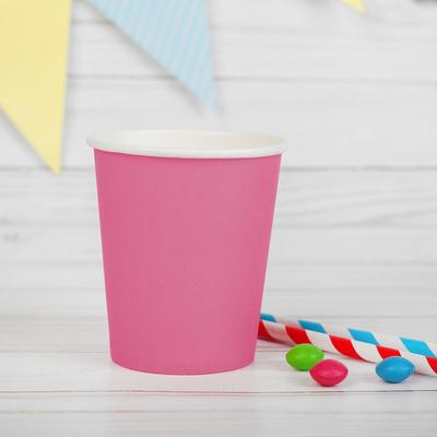 Стакан бумажный, однотонный, 205 мл, цвет розовый