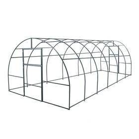 Каркас теплицы, 6 × 3 × 2 м, шаг 1 м, профиль 20 × 20 мм, толщина металла 1 мм, без поликарбоната, половинчатые арки Ош