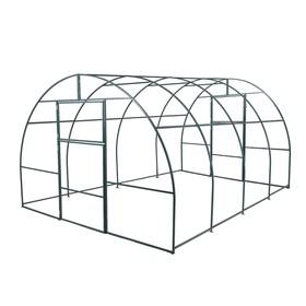 Каркас теплицы, 4 × 3 × 2 м, шаг 1 м, профиль 20 × 20 мм, толщина металла 1 мм, без поликарбоната, половинчатые арки Ош