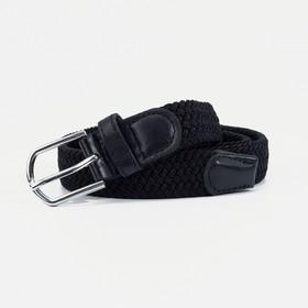 Ремень женский, резинка плетёнка, пряжка под металл, ширина - 2,5 см, цвет чёрный