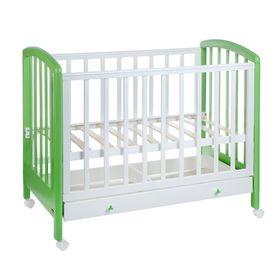 Детская кроватка «Фея 600» на колёсах, с ящиком, цвет белый/лайм