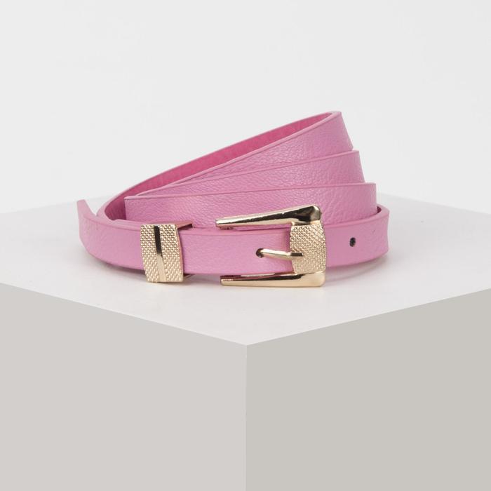 Ремень, ширина 1,5 см, пряжка металл под золото, цвет розовый