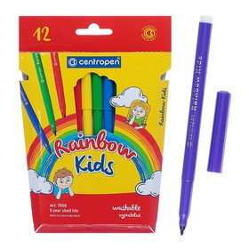Фломастеры 12 цветов, Centropen 7550/12 Rainbow Kids, картонная упаковка, европодвес