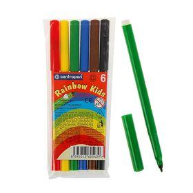 Фломастеры 6 цветов, Rainbow Kids, эргономичная зона обхвата, смываемые, вентилируемый колпачок