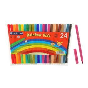 Фломастеры 24 цвета Centropen 7550/24 Rainbow Kids, пластиковый конверт