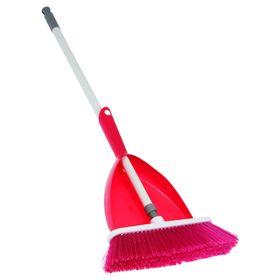 Набор для уборки 3 в 1 АКОР Elite Venecia: щётка с череноком 120 см, совок, цвет малиновый