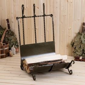 Дровница + 3 предмета (совок 64 см, щетка 58 см, кочерга 67 см) 46х42х63 см Ош