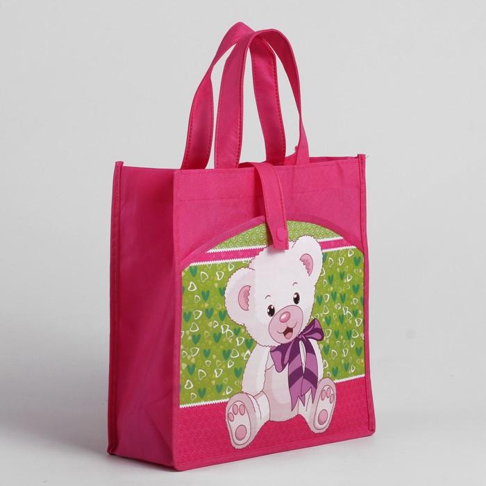 Сумка детская на кнопке, 1 отдел, наружный карман, цвет розовый