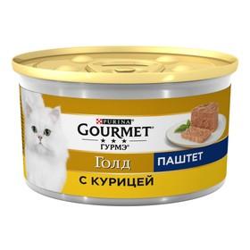 Влажный корм GOURMET GOLD для кошек, паштет курица, ж/б, 85 г