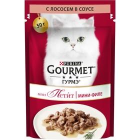 Влажный корм GOURMET MON PETIT для кошек, лосось, пауч, 50 г Ош