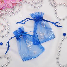Мешочек подарочный 'Бабочки' 7*9 цвет синий Ош