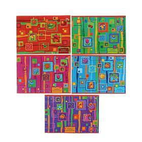 Альбом для рисования А4, 12 листов на скрепке, «Яркие краски», обложка картон 185 г/м2, блок офсет 100г/м2, 5 видов, МИКС Ош