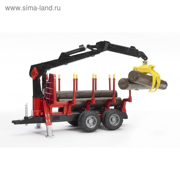 Прицеп для перевозки леса, с манипулятором и брёвнами