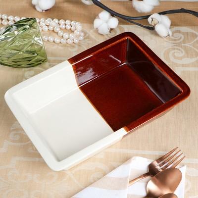 Противень для запекания, бело-коричневый, 18 х 25 см