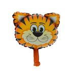 """Шар фольгированный 10"""" """"Голова тигра"""" для палочки, с клапаном, мини"""