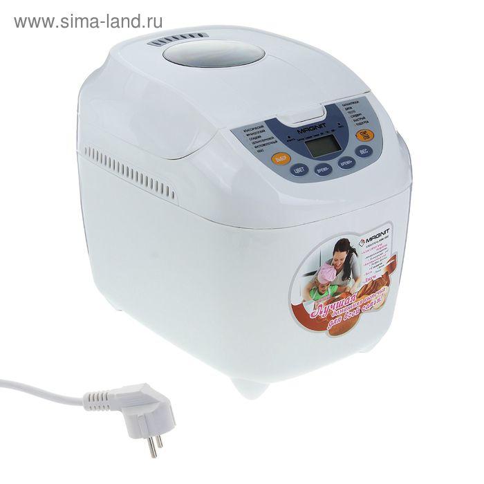 Хлебопечка Magnit RBM-1002, 720 Вт, 12 программ, выбор цвета корочки, таймер, белая