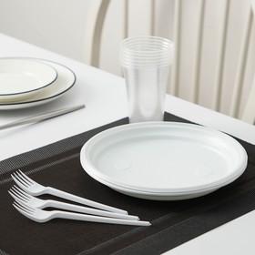 Набор одноразовой посуды «Пикник», 6 персон, цвет белый Ош