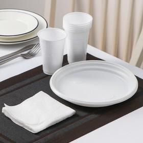 Набор одноразовой посуды «Красавчик», 6 персон, цвет белый