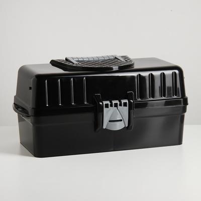 Ящик универсальный Альтернатива, 42,5×22,4×20 см, с крышкой, раздвижной, цвет чёрный - Фото 1