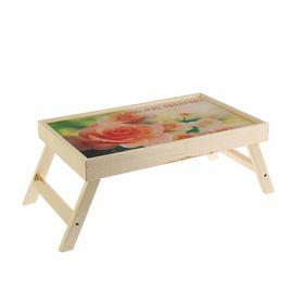 """Столик-поднос """"Розы"""", деревянная поверхность 50х30см"""