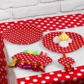 Набор для праздника «Горох», скатерть 180х108 см, 6 тарелок, 6 язычков, цвет красный Ош