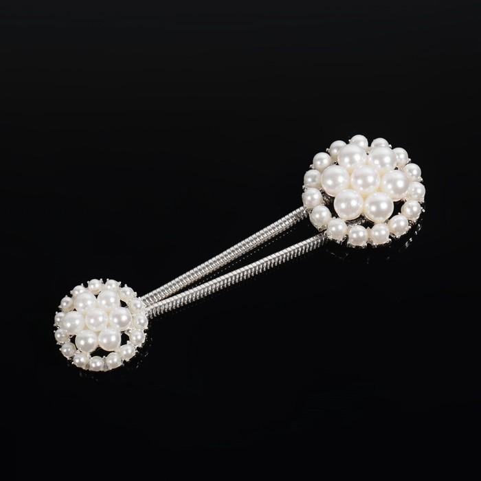 Декоративная застёжка, d = 2,5/3 см, цвет серебряный/белый