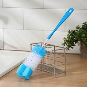 Ёршик для посуды с губкой, 5×34 см, цвет МИКС Ош