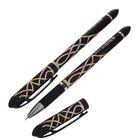 Ручка гелевая, 0.5 мм, чёрная, корпус с узором, игольчатый пишущий узел